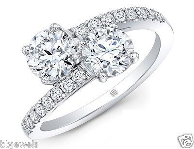Forever Us Two Stone Round Diamond D/VVS1 2CT Solitaire Ring 14k White Gold Over