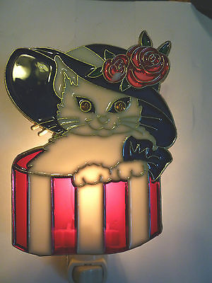 """Stain Glass Style - """"CAT IN A HAT BOX""""    NIGHT LIGHT"""