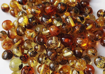 Natural Baltic Amber Round Loose With Holes Beads