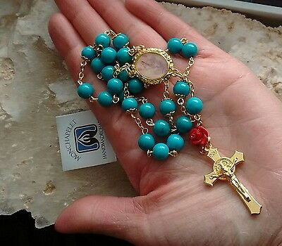 Chaplet of virtues with natural turquoise beads