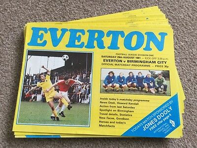 Everton FC Complete homes 1981/82 x 24