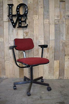 Retro Vintage Mid Century Industrial Evertaut Red Machinist Swivel Chair