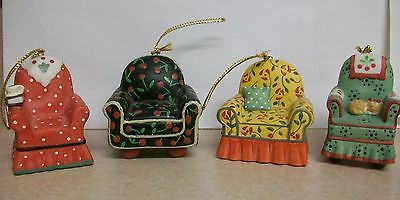 Vintage 1997 Charpente Mary Engelbreit Christmas Chair Ornament Set Lot of 4