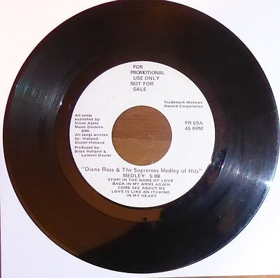 Diana Ross & The Supremes Medley Of Hits. USA White label Promo PR 69