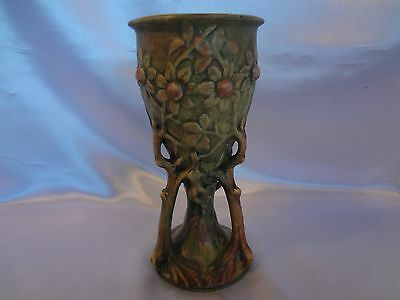 Rare Weller Art Pottery-Woodcraft -Pedestal Vase- Green with Embossed Flowers