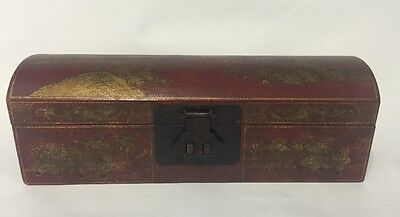 Antique Chinese Gilt Painted Landscape Sutra Box