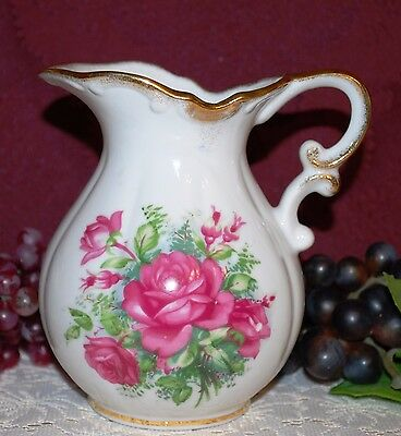 Porcelain White W/ Pink Roses Gold Trimmed Footed Handled Victorian Pitcher