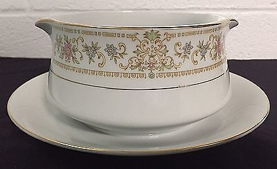 Royal Gallery Fine China Rox Burry Gravy Boat With Attached Underplate