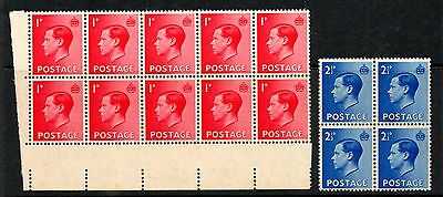GREAT BRITAIN Edward VIII 1d and 2 1/2d in blocks UM. See scans