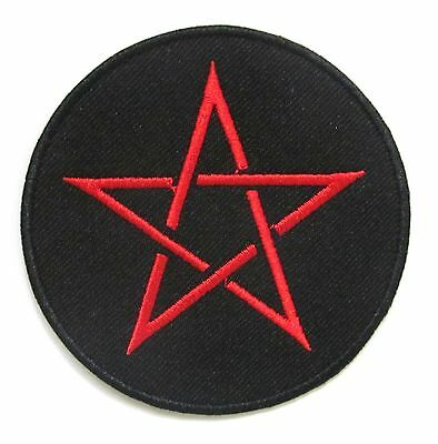 Red Pentagram Iron On Patch- Devil Wicca Demon Witchcraft Badge Applique Sew