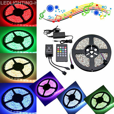 Music Sound Activated 5M 5050 300 LED RGB SMD Strip Lights 12V Waterproof Remote