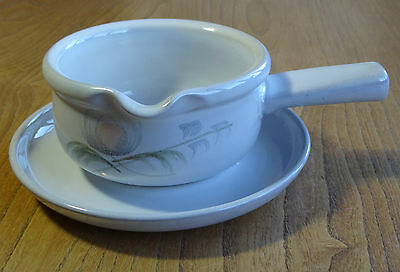 Denby Gravy or Sauce Boat & Saucer, Stand or Underplate - WHISPER