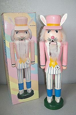 """Easter Rabbit Royal Guard Soldier Nutcracker 14"""" Pink & Blue  NICE 1989 Boxed"""