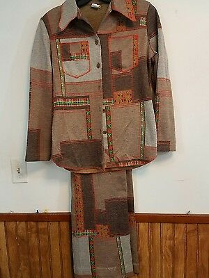 vintage 1970's leisure suit knit browns orange green mens womens jc penneys poly
