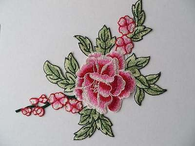 Embroidered guipure lace applique patch trim. 1 piece pink / green
