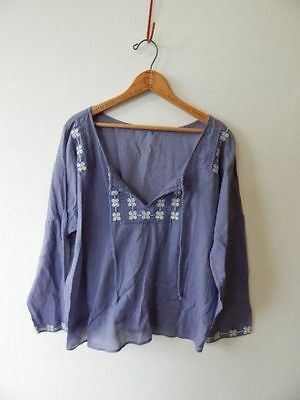 PEASANT TOP~Daisy Flower Embroidered Lavender Cotton Hippie Bohemian Blouse~L