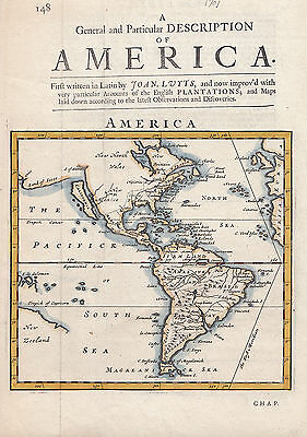 1701 Herman Moll Map of North America & South America (California as Island)