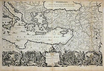 1730 Stoopendaal Map of  Turkey, Greece, Balkans - Travels of Apostle Paul