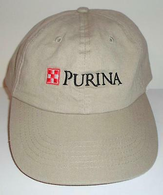 Purina Pet Care Animal Food Embroidered Baseball Cap Hat Cotton Beige Adjustable