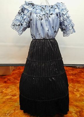 2 Piece Blue Organza And Black Velvet Square Dance Prairie Outfit