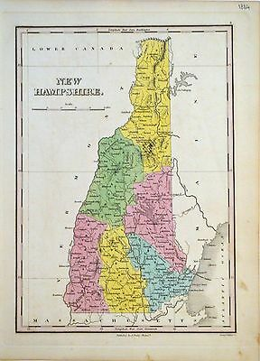 1824 Finley Map of New Hampshire - ORIGINAL ANTIQUE MAP