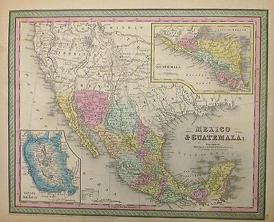 Mexico Map 1850.1850 Mitchell Map Of Mexico Texas And Guatemala Post Mexican