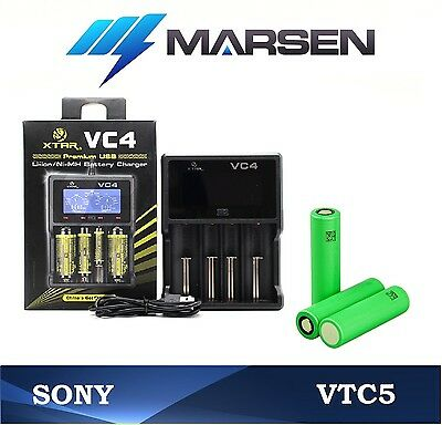 XTAR VC4 Universal charger + Sony US18650VTC5 High drain 30A Lithium batteries
