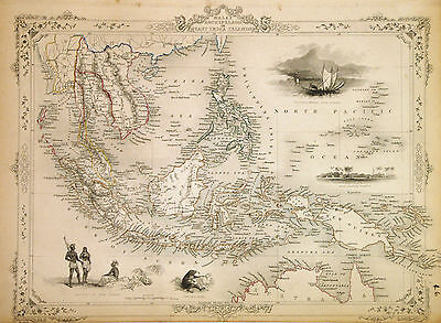 1851 Tallis Map of the East Indies (Singapore Identified) - ORIGINAL