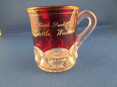 Vintage Pressed Red Flash Glass Souvenir of South Park, Seattle, WA. Mug