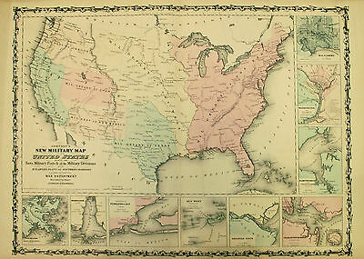 1862 Johnson Map of the Civil War Military Departments of the United States