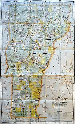 1912 Cram Map of Vermont showing Libraries - ORIGINAL POCKET MAP