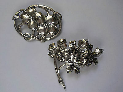 Two Vintage Sterling Pins Magnolia Blossoms And Leaves Signed Danecraft 1940-50