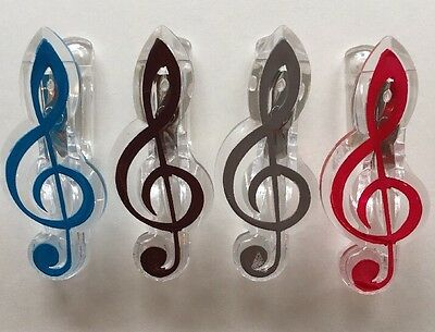 Acrylic Music Clip Treble Clef Note Red Brown Blue Silver Paper Clip Wall Clip