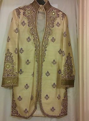 Men's Wedding Gold and Purple Sherwani (Size 40)