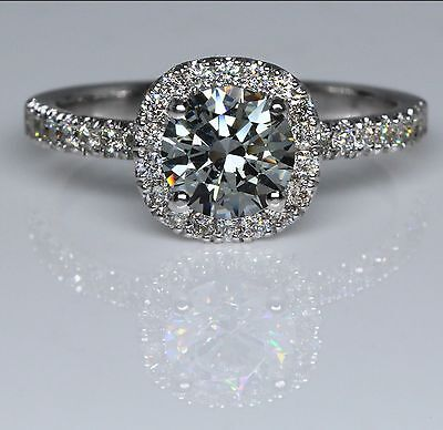 1 Carat Natural Round Cut Diamond Engagement Ring D/SI 14K White Gold Enhanced