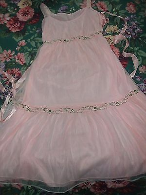 Vintage Night gown Pink Chiffon embroidery Size small