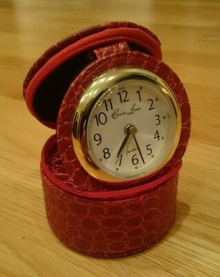 Charles Leman Travel Watch Alarm Clock in red round leather jewel case