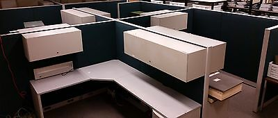 Haworth Cubicle 4 Connected Workstations Overhead Compartments & Filing Cabinets