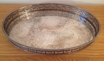 Vintage Sheffield Silver Plated Oval Gallery Tray