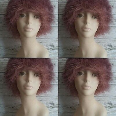 """Vintage 1980's Pink Long Haired, Faux Fur Hat. By """"SERIOUS"""" Winterwear. One Size"""