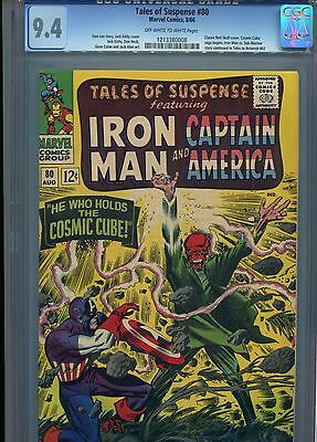 Tales of Suspense 80 CGC 9.4 OW/W Pages Classic Red Skull Cover Cosmic Cube
