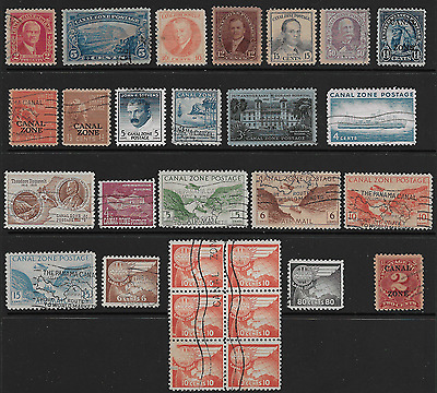 Collection of 23 different used Canal Zone; Lot CZ240я0; Retail Value $16.10