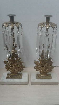 Pair Antique  Marble/ Brass Prism Crystal Candlestick Holders Candelabra