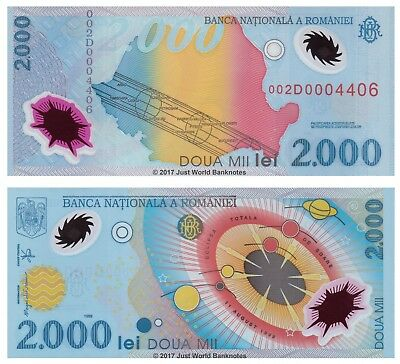 Romania 2000 (2,000) Lei 1999 Polymer P-111 Low Serial Numbers 002D 00044xx  UNC