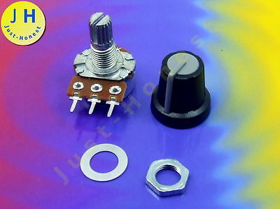 POTENTIOMETER POTI Drehpotentiometer Logaritmisch MIT KAPPE Knopf Button