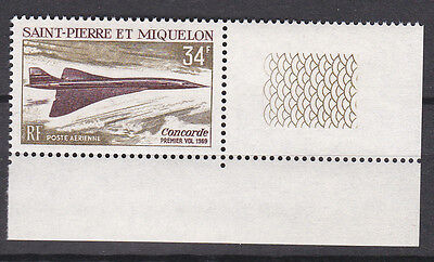 St.Pierre & Miquelon Concorde Issue 34fr ScC40 Stamp with Design in Selvage MNH