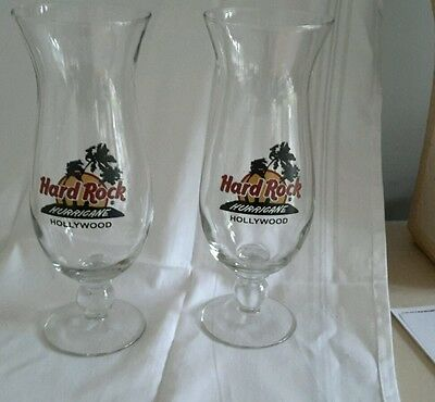 Hard Rock Cafe  HOLLYWOOD  Hurricane Glassware VG condition 2 total