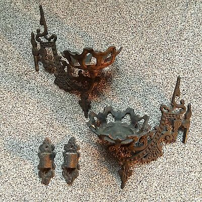 2 Old Cast Iron Candle Wall Sconces *see Description