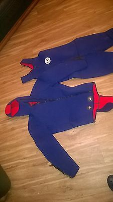 Wetsuit Diving Suit 7mm Thick Two Piece Blue/Red