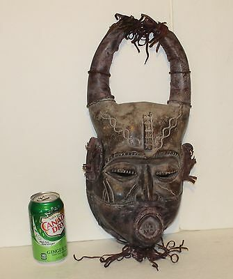 Rare African Art Ivory Coast Horned Tribal Mask W/ Leather Handmade & Carved